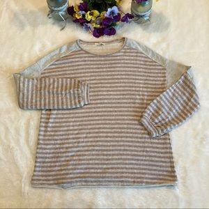 Easel Gray Brown Stripe Oversize Boho Top Sz S